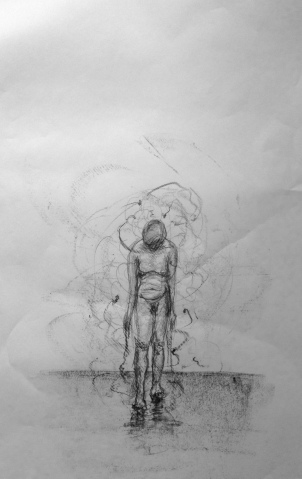 Overwhelm, 2015. graphite on lining paper.