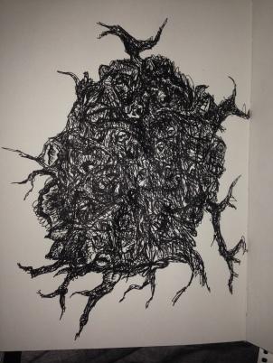 Ball of rage, 2015. Ballpoint pen on cartridge paper.